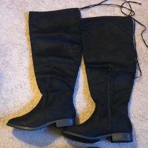 Wide Knee High Boots - Black plus size